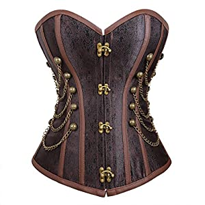 Bluland Women's Steampunk Gothic Corset Overbust Bustiers