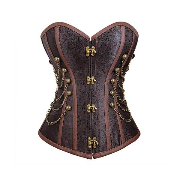 Bluland Women's Steampunk Gothic Corset Overbust Bustiers 3