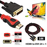 Hanbaili HDMI to DVI Cable, 3M HDMI to DVI 24 + 1 Double Magnetic Gold-plated Connectors with A Network of High-definition Line For Television Projectors