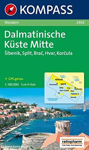 Dalmatinische Küste Mitte: Wanderkarte mit Radrouten. GPS-genau. 1:100000 (KOMPASS-Wanderkarten, Band 2902)