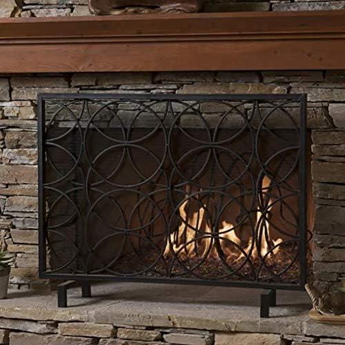 シングルパネルブラック/ゴールド暖炉スクリーン、錬鉄製消防士立ち金属装飾メッシュ、子供用防火柵、Fireストーブ付属品 (Color : Black)