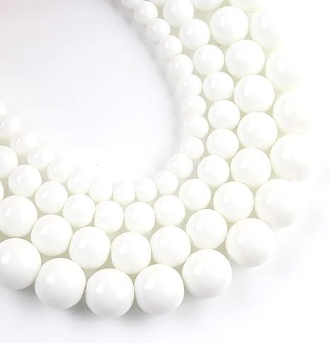 Natural Stone Beads Tridacna Stone White Round Beads for Jewelry Making Diy