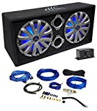NYC Acoustics NSE212L Dual 12'' 1800w Powered Car Subwoofer System+LED+Wire Kit