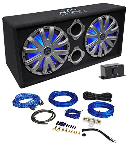 NYC Acoustics NSE212L Dual 12'' 1800w Powered Car Subwoofer System+LED+Wire Kit by NYC ACOUSTiCS