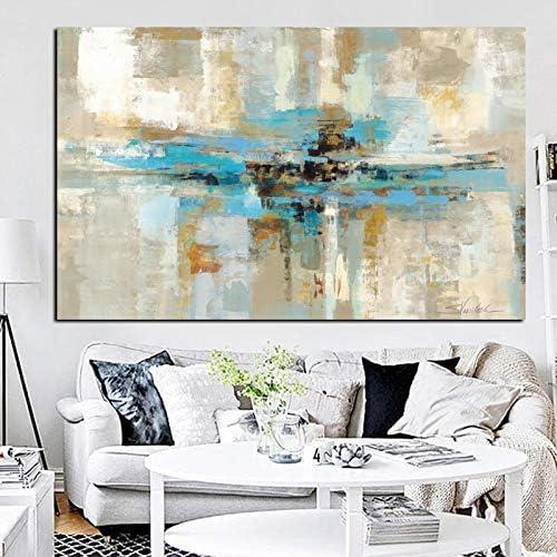 PLjVU Pintura al óleo Abstracta Moderna Azul sobre Lienzo para Carteles e Impresiones de Cuadros de Arte de Pared Azul Marino para la Sala de Estar-Sin marco50X75cm