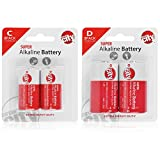 Essential Circuit City 2 C-Cell & 2 D-Cell High Performance Alkaline Batteries (4 Total)