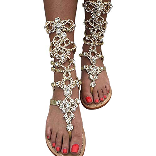 get online cheaper promo code Women's Rhinestone Gladiator Sandals,Plus Size,Summer Flat Sandals ...