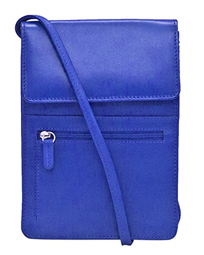 Cobalt with ili Organizer 6829 RFID Leather Blocking New Lining Crossbody York 6qwpvA6