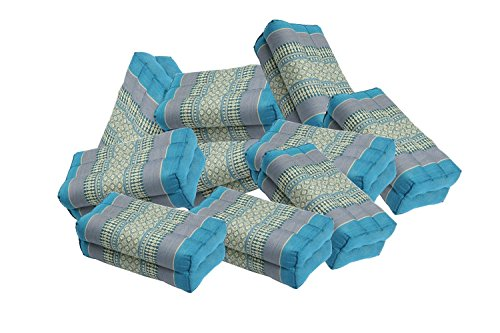 Value Pack: 12 Kapok Block Cushions (Thai Fabric SkyBlues) Handelsturm Original by thailand kengdudee