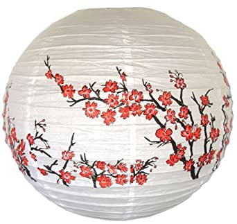 """Just Artifacts 16"""" Red Peach Blossom Flowers White Color Chinese/Japanese Paper Lantern/Lamp - Just Artifacts Brand"""