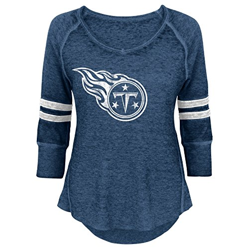 NFL Junior Girls Relaxed 3/4 Thermal Top, Tennessee Titans, Dark Navy, L(11-13)