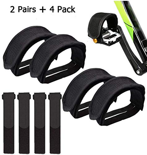 IDWAI 4Pcs Bike Pedal Straps, Bicycle Feet Strap Pedal Straps For Fixed Gear Bike (black)