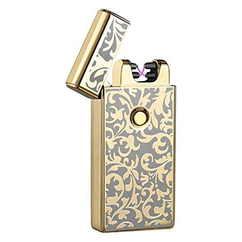 Padgene Electronic Pulse Double Arc Cigarette Lighter, Flameless USB Rechargeable Arc Lighter, Black