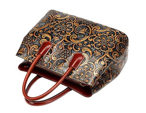 Jair Retro Floral Embossed Genuine Leather Crossbody Tote Bags Handbags for Women (Bronze New) by Jair (Image #4)