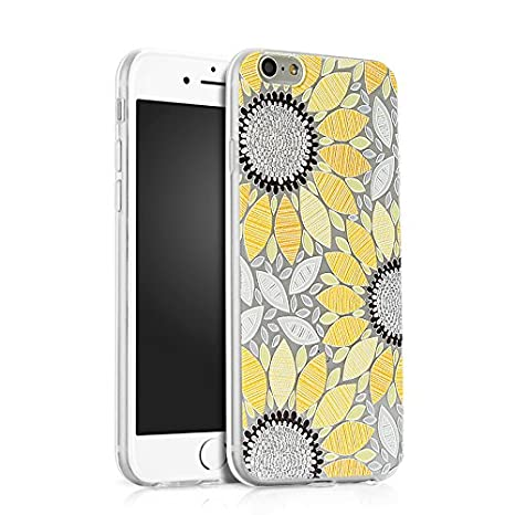 Funda iPhone 6S, Carcasa iPhone 6, JAWSEU iPhone 6/ 6S 4.7 Carcasa Caso Cover Creativa Diseño de Girasol Ultra Delgado Brillante Crystal Clear ...