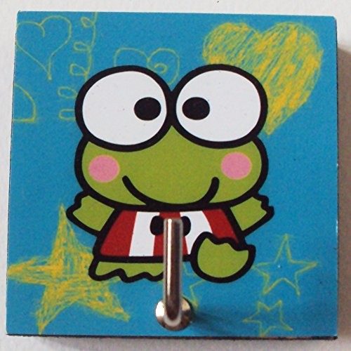 Frog Single Stroller (Agility Bathroom Wall Hanger Hat Bag Key Adhesive Wood Hook Vintage Blue Keroppi's Photo)