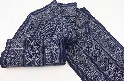 Hmong Traditional batik fabric, cotton fabric, handmae fabric for Craft Supply, bed runner, table runner, home decoration, (Hand Batik Cotton Table Runner)