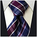 Scott Allan Collection Plaid Ties for Men - Woven Necktie - Mens Ties Neck Tie - Navy Blue w/Plum Purple