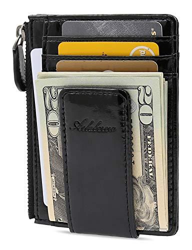 AslabCrew Minimalist Genuine Leather Zipper Magnetic Front Pocket Money Clip Wallet RFID Blocking Card Wallets, Glam-Black