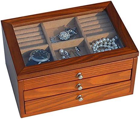 女性のためのジュエリーボックス木製の引き出しオーガナイザーロックとミラージュエリーリング、ネックレス、イヤリング、ジュエリー、ブ