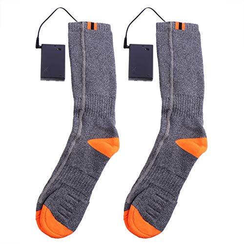 Abaodam Verwarmde sokken Mannen Vrouwen Batterij Sok Koude Voeten Elektrische Thermische Sokken (Grijs)