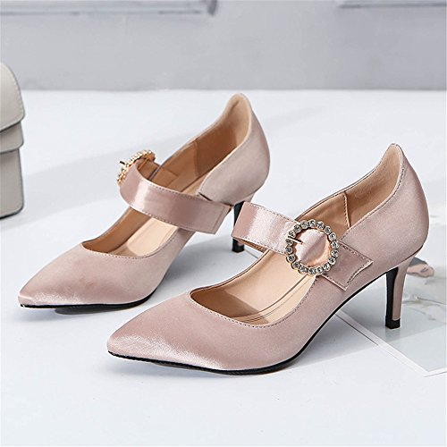 MONAcwe Sandales Talons Hauts Lady Summer Sexy Astuce Fermeture Pieds Boucle Party Talon Chaussures Chaussures Abricot tR2yS9NY
