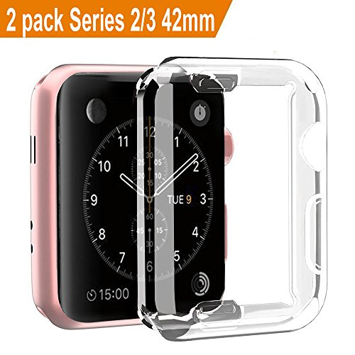 ([2 Pack] Apple Watch 3 Case, ZAOX iwatch Case Buit in Soft TPU Screen Protector All-around Protective Bumper High Definition Clear Ultra-Thin Cover for Apple Watch 42mm Series 3, Series 2)