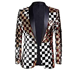 Double-Sided Colorful Plaid Red Gold Sequins Blazer