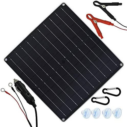 TP-solar 20 Watt 12 Volt Solar Trickle Charger 20W 12V Solar Panel Car Battery Charger Portable Solar Battery Maintainer Cigarette Lighter Plug Alligator Clip O-ring Terminal for Car Boat Motorcycle