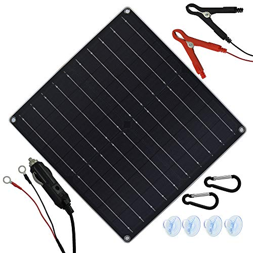20 Watt 12 Volt Solar Trickle Charger 20W 12V Solar Panel Car Battery Charger Portable Solar Battery Maintainer with Cigarette Lighter Plug & Alligator Clip & O-Ring Terminal for Car Boat Motorcycle