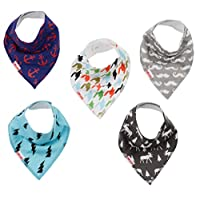 Danha Baby Bandana Teething Bib for infants and toddlers - set of 5 organic cotton drooling bib (boy)