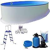 Pool-Set KOMFORT Ø 5,00 x 1,20 m rund - 0,6mm Stahlmantel + 0,6mm Innenhülle (blau) mit Einhängebiese - inkl. Einstiegsleiter, Schlauch-Set, hochwertige 6,0m³/h Sandfilteranlage, 25 kg Sand, Skimmer-SET, etc.