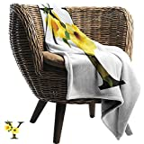 Blanket Custom Photo Letter Y Y Letter with Yellow Bell Flower Natural Representation in Abstract Design Sofa Warm Bed 57' W x 74' L Yellow Green Black