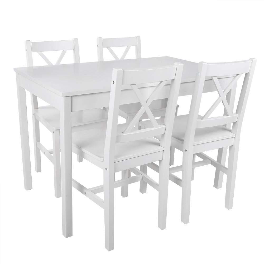 EBTOOLS Set da Pranzo da Giardino,Tavolo de Pranzo,Set Tavolo e 4 Sedie,Tavolo e Sedie in Legno,per a Tamiglie Giardini Ristoranti,Tavoli 106 Blanco 65 73cm