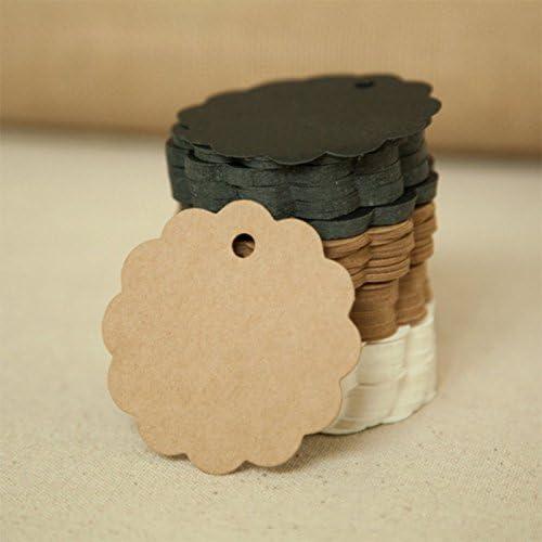 Westeng 100pcs /Étiquette de Cadeau Rond Vintage Tags Carte Kraft /étiquettes pour Cadeau F/ête Mariage No/ël 6*6cm pas de Ficelle