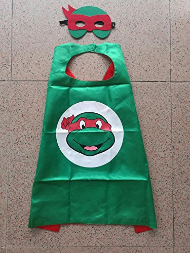 Superhero Halloween Party Cape and Mask Set for Kids 15+ Styles! (Teenage Mutant Ninja Turtles (Teenage Mutant Ninja Turtle Raphael Adult Mask)