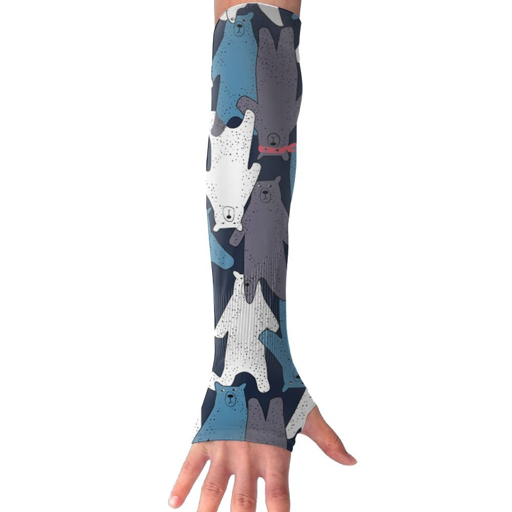 Men Women Black And White Bear Sunscreen Outdoor Travel Arm Sleeves Sunblock Cooler Gloves For Cycling/Golf/Running/Basketbal/Driving