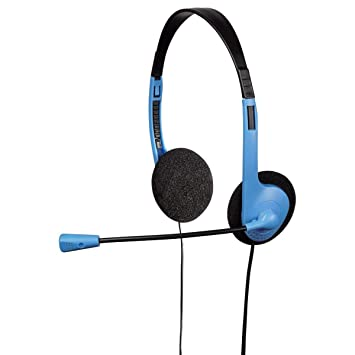 hama hs - 101 stereo headphones with headset mic/2 x jack connection 3 5  mm, blue: amazon co uk: computers & accessories