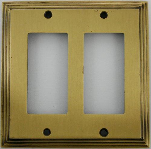 - Deco Step Style Antique Brass 2 Gang GFI/Rocker Wall Plate