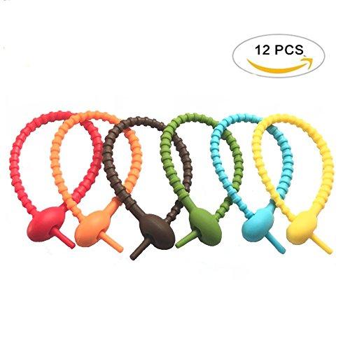 Tangser Colorful All-Purpose Silicone Ties, Multi-use smart tie, Bag Clip, Bread Tie, Original Gear Ties, Food Saver, Reusable Rubber Twist Tie, Cable Ties, Household Snake Ties (12 Pcs) (All Purpose Silicone Rubber)