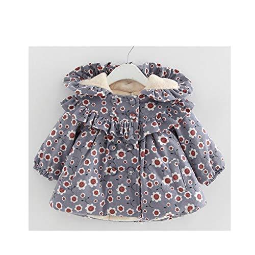Jacket Newmarket (Girls Coat Winter Newborn Children Plus Velvet Cotton Jacket Hooded Infant Clothing Baby Outwear)