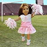 "Doll Clothes for American Girl Dolls: 6 Piece Cheerleading Outfit – ""Dress Along Dolly"" (Includes 2 Pom Poms, Cheerleading Outfit, Socks, and Cheer Shoes), Baby & Kids Zone"