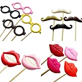 Tinksky Funny Wedding Photo Props on a Stick Mask Beard Mustache Hat Glasses Lips Photo Booth Posing Props for Mother's Day Wedding Luau Hawaii children's party Decoration 14-pack