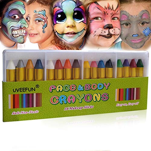 UVEEFUN Face Paint Crayons 16 Colors Face and Body Paint Sticks Body Tattoo Crayons - Halloween Makeup -
