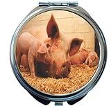 Rikki Knight Pigs in Sty Design Round Compact Mirror