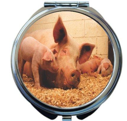 Rikki Knight Pigs in Sty Design Round Compact Mirror by Rikki Knight