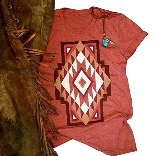 Anbech Women Southwest Dream Shirt Fringed Pineapple Novelty Graphic Tees Summer Short Sleeve Tops Size XL (As ()
