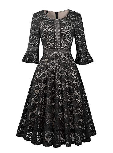 - Twinklady Women's Vintage Full Lace Bell Sleeve Big Swing A-Line Dress (Black, XXL