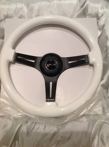 NRG Innovation GLOW IN THE DARK WHITE wood wheel, 350mm, 3 spoke center in BLACK