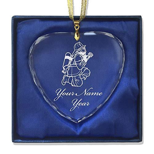 SkunkWerkz Christmas Ornament, Fireman Hose, Personalized Engraving Included (Heart Shape)